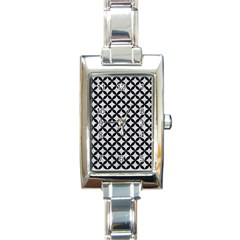 Circles3 Black Marble & Silver Glitter Rectangle Italian Charm Watch by trendistuff