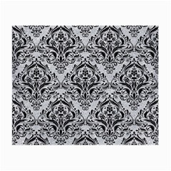 Damask1 Black Marble & Silver Glitter Small Glasses Cloth (2 Side) by trendistuff