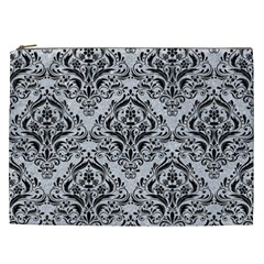 Damask1 Black Marble & Silver Glitter Cosmetic Bag (xxl)  by trendistuff