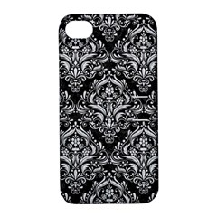 Damask1 Black Marble & Silver Glitter (r) Apple Iphone 4/4s Hardshell Case With Stand