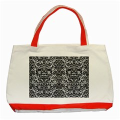 Damask2 Black Marble & Silver Glitter Classic Tote Bag (red) by trendistuff