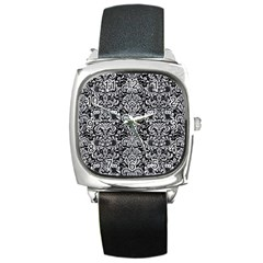 Damask2 Black Marble & Silver Glitter (r) Square Metal Watch by trendistuff
