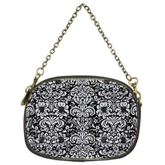 Damask2 Black Marble & Silver Glitter (r) Chain Purses (one Side)  by trendistuff