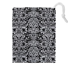 Damask2 Black Marble & Silver Glitter (r) Drawstring Pouches (xxl) by trendistuff