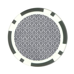Hexagon1 Black Marble & Silver Glitter Poker Chip Card Guard by trendistuff