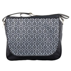 Hexagon1 Black Marble & Silver Glitter Messenger Bags by trendistuff
