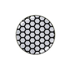Hexagon2 Black Marble & Silver Glitter Hat Clip Ball Marker (10 Pack) by trendistuff