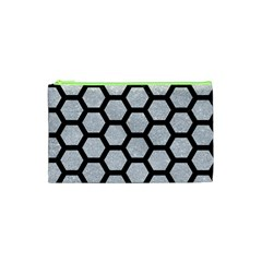 Hexagon2 Black Marble & Silver Glitter Cosmetic Bag (xs) by trendistuff