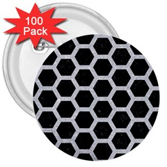 Hexagon2 Black Marble & Silver Glitter (r) 3  Buttons (100 Pack)  by trendistuff