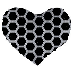 Hexagon2 Black Marble & Silver Glitter (r) Large 19  Premium Flano Heart Shape Cushions by trendistuff