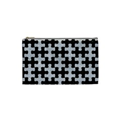 Puzzle1 Black Marble & Silver Glitter Cosmetic Bag (small)  by trendistuff