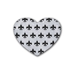 Royal1 Black Marble & Silver Glitter (r) Heart Coaster (4 Pack)