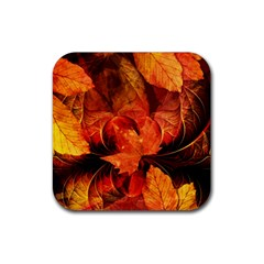 Ablaze With Beautiful Fractal Fall Colors Rubber Square Coaster (4 Pack)  by jayaprime
