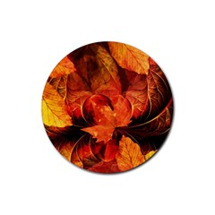 Ablaze With Beautiful Fractal Fall Colors Rubber Coaster (round)  by jayaprime
