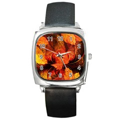Ablaze With Beautiful Fractal Fall Colors Square Metal Watch by beautifulfractals