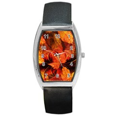 Ablaze With Beautiful Fractal Fall Colors Barrel Style Metal Watch by jayaprime