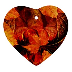Ablaze With Beautiful Fractal Fall Colors Heart Ornament (two Sides) by jayaprime