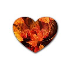 Ablaze With Beautiful Fractal Fall Colors Heart Coaster (4 Pack)  by jayaprime
