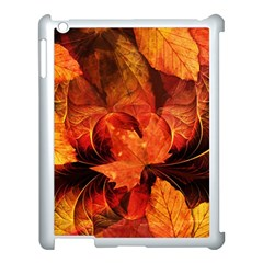 Ablaze With Beautiful Fractal Fall Colors Apple Ipad 3/4 Case (white) by jayaprime