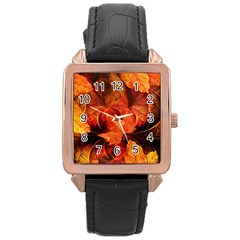 Ablaze With Beautiful Fractal Fall Colors Rose Gold Leather Watch  by beautifulfractals
