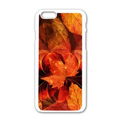 Ablaze With Beautiful Fractal Fall Colors Apple Iphone 6/6s White Enamel Case by beautifulfractals