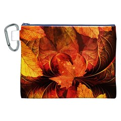 Ablaze With Beautiful Fractal Fall Colors Canvas Cosmetic Bag (xxl) by beautifulfractals