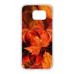 Ablaze With Beautiful Fractal Fall Colors Samsung Galaxy S7 Edge White Seamless Case by jayaprime