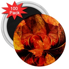Ablaze With Beautiful Fractal Fall Colors 3  Magnets (100 Pack) by beautifulfractals