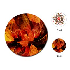 Ablaze With Beautiful Fractal Fall Colors Playing Cards (round)  by beautifulfractals