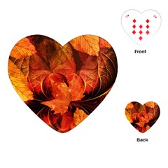 Ablaze With Beautiful Fractal Fall Colors Playing Cards (heart)  by jayaprime