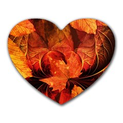 Ablaze With Beautiful Fractal Fall Colors Heart Mousepads by jayaprime