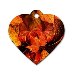Ablaze With Beautiful Fractal Fall Colors Dog Tag Heart (two Sides) by beautifulfractals