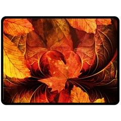 Ablaze With Beautiful Fractal Fall Colors Fleece Blanket (large)  by jayaprime