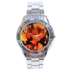 Ablaze With Beautiful Fractal Fall Colors Stainless Steel Analogue Watch by beautifulfractals