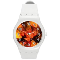 Ablaze With Beautiful Fractal Fall Colors Round Plastic Sport Watch (m) by beautifulfractals