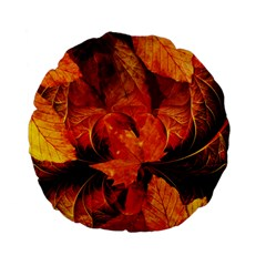 Ablaze With Beautiful Fractal Fall Colors Standard 15  Premium Flano Round Cushions by jayaprime