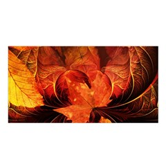 Ablaze With Beautiful Fractal Fall Colors Satin Shawl by jayaprime