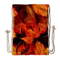 Ablaze With Beautiful Fractal Fall Colors Drawstring Bag (large) by beautifulfractals