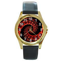 Chinese Lantern Festival For A Red Fractal Octopus Round Gold Metal Watch by jayaprime