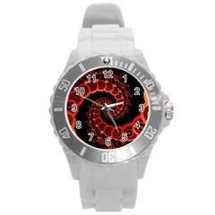 Chinese Lantern Festival For A Red Fractal Octopus Round Plastic Sport Watch (l) by jayaprime
