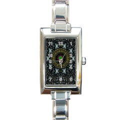 Leaf Earth And Heart Butterflies In The Universe Rectangle Italian Charm Watch by pepitasart