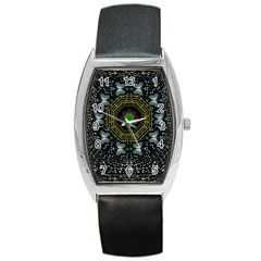 Leaf Earth And Heart Butterflies In The Universe Barrel Style Metal Watch by pepitasart