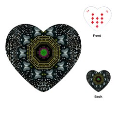 Leaf Earth And Heart Butterflies In The Universe Playing Cards (heart)  by pepitasart
