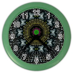 Leaf Earth And Heart Butterflies In The Universe Color Wall Clocks by pepitasart