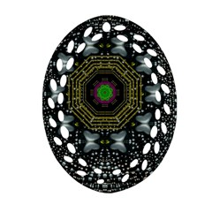 Leaf Earth And Heart Butterflies In The Universe Oval Filigree Ornament (two Sides) by pepitasart