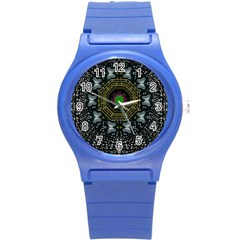 Leaf Earth And Heart Butterflies In The Universe Round Plastic Sport Watch (s) by pepitasart