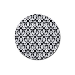 Scales2 Black Marble & Silver Glitter Magnet 3  (round) by trendistuff