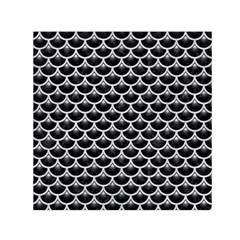 Scales3 Black Marble & Silver Glitter (r) Small Satin Scarf (square) by trendistuff