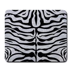 Skin2 Black Marble & Silver Glitter Large Mousepads by trendistuff