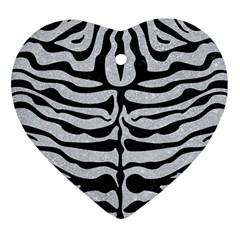 Skin2 Black Marble & Silver Glitter Heart Ornament (two Sides) by trendistuff